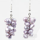 Cluster Style Violet Purple Freshwater Pearl Earrings