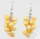 Cluster Style Dyed Bright Yellow Freshwater Pearl Earrings under $ 40