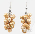 Cluster Style Dyed Golden Champagne Color Freshwater Pearl Earrings