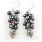 cluster style black crystal earrings