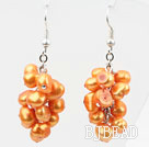 Cluster Style Dyed Orange Yellow Color Freshwater Pearl Earrings