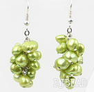 Cluster Style Dyed Grass Green Color Freshwater Pearl Earrings under $ 40