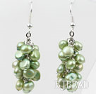Cluster Style Dyed Olive Green Color Freshwater Pearl Earrings under $ 40