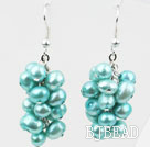 Cluster Style Dyed Lake Blue Color Freshwater Pearl Earrings