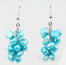 Cluster Style Dyed Sky Blue Color Freshwater Pearl Earrings under $ 40