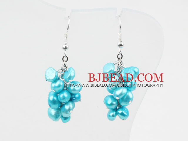 Cluster Style Dyed Sky Blue Color Freshwater Pearl Earrings