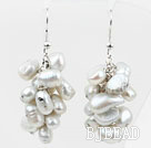 Cluster Style Dyed White Gray Color Freshwater Pearl Earrings under $ 40