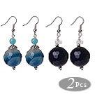 2 Pcs Classic Design Blue Faceted Agate Ball And Blue Jade And White Sea Shell Earrings