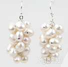 Cluster Style White Top Drilled Freshwater Pearl Earrings