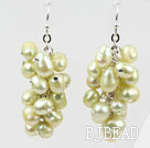 Cluster Style Light Yellow Color Top Drilled Freshwater Pearl Earrings