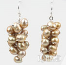 Cluster Style Champagne Color Top Drilled Freshwater Pearl Earrings