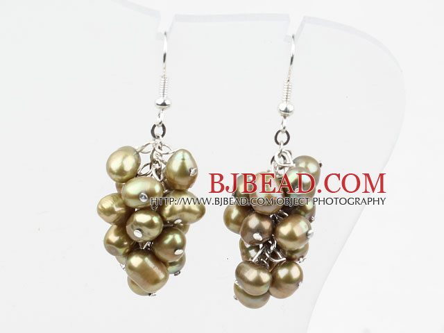 Cluster Style Light Brown Top Drilled Freshwater Pearl Earrings