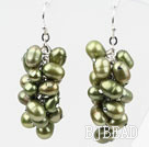 Cluster Style Olive Green Color Top Drilled Freshwater Pearl Earrings