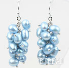 Cluster Style Light Blue Color Top Drilled Freshwater Pearl Earrings