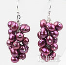 Cluster Style Purple Red Color Top Drilled Freshwater Pearl Earrings