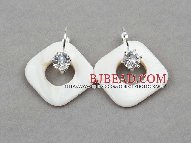 Rhombus Shape White Shell Earrings with Rhinestone