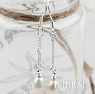 Classic Design Dangle Style Natural White Freshwater Pearl Bridal Earrings
