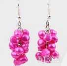 Cluster Style 6-7mm Hot Pink Freshwater Pearl Earrings