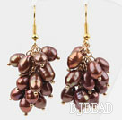Cluster Style 5-6mm Dyed Brown Freshwater Pearl Earrings