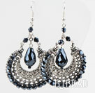 Gorgeous Style Big Drop Shape Tungsten Steel Color Crystal Earrings