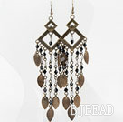 Vintage Style Black White Crystal and Brooze Leaves Earrings