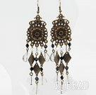 Vintage Style White Crystal and Bronze Accessories Earrings