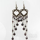 Vintage Style Round Garnet Long Earrings