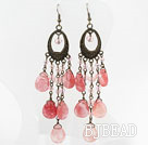 Vintage Style Drop Shape Cherry Quartz Crystal Long Earrings