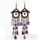 Vintage Style Assorted Amethyst Long Earrings