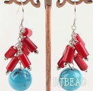 red coral turquoise earrings