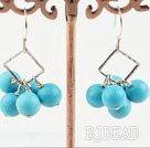 8mm round turquoise earrings