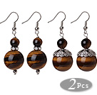 2 Pcs Classic Design 16mm Tiger Eye Bead Earrings With Tibet Silver Accessory