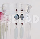 garnet abalone white poecelain earrings