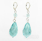New Design Drop Shape Light Blue Crystal Earrings