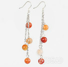 8mm round dangling style natural agate earings