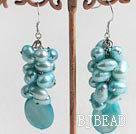 dyed blue pearl shell earrings