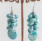 dyed blue pearl shell earrings