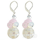 Mosaics White Lip Shell and Pink Crystal Earrings