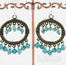 6mm burst pattern turquoise earrings