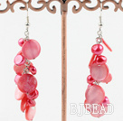 dyed red and shell earrings under $4