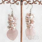 dyed pink pearl and rose quartz earrings