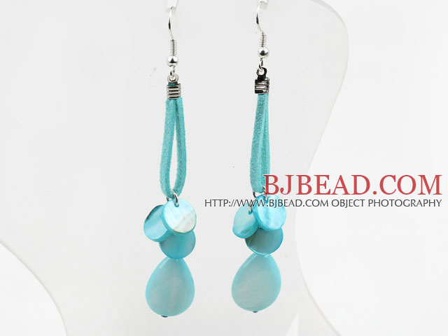Dyed Blue Shell Dangle Earrings