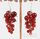red carnelian cluster earrings