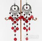 garnet coral earring