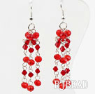 Long Style Red Crystal Dangle Earrings