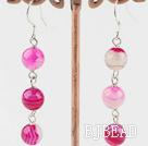 8mm pink agate dangle earrings
