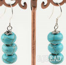 10mm burst pattern turquoise dangle earrings
