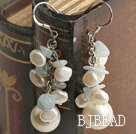 cluster style white pearl and sea shell bead earrings