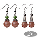 2 Pcs Vintage Style Round Sunstone Bead And Chrysoprase And Granet Dangle Earrings