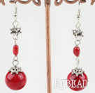red coral and bloodstone earrings under $ 40